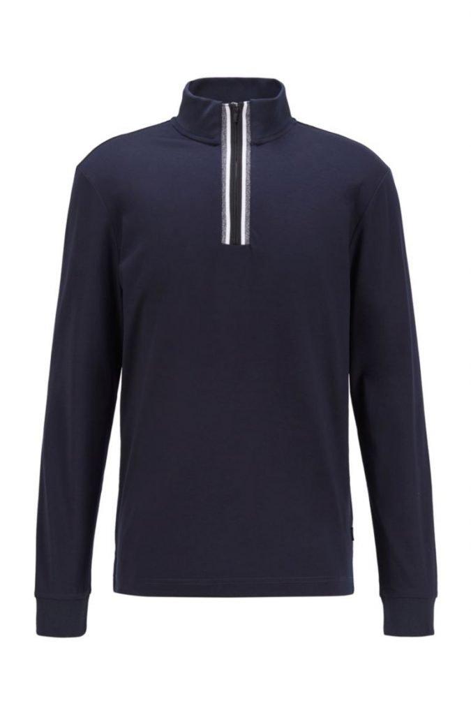 Hugo Boss mezza zip blu in jersey