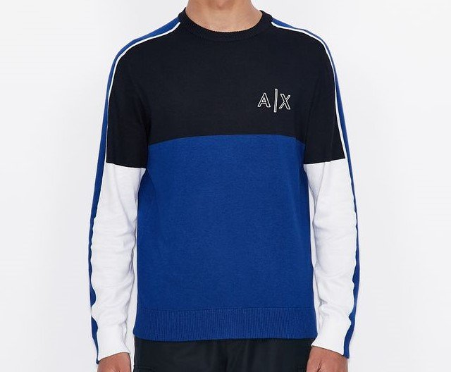 maglione girocolloArmani Exchange con logo e piping