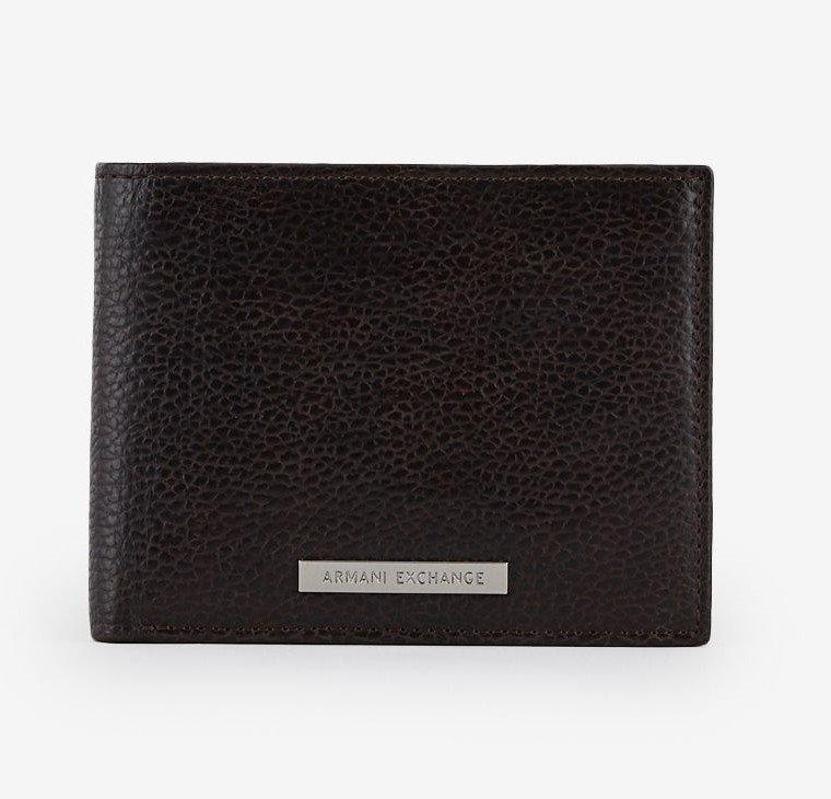 portafoglio in pelle di bufalo con trghetta in metallo logo Armani Exchange